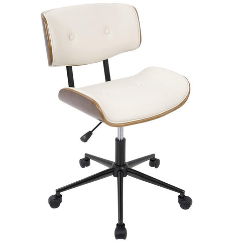 Lumisource Lombardi Mid-Century Modern Adjustable Office Chair with Swivel in Walnut and Cream