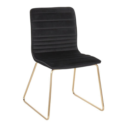 Lumisource Mara Contemporary/Glam Chair in Gold Metal and Black Velvet