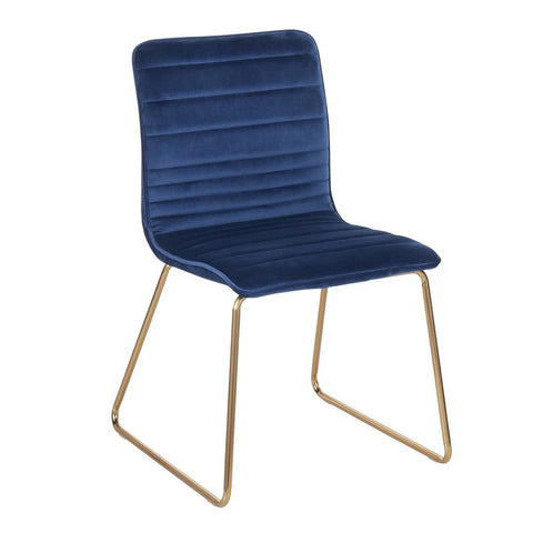 Lumisource Mara Contemporary/Glam Chair in Gold Metal and Blue Velvet