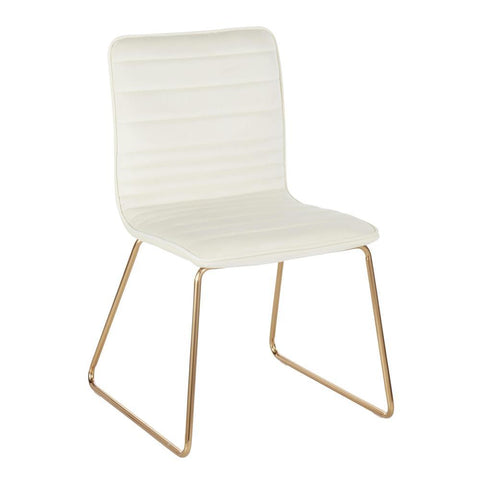 Lumisource Mara Contemporary/Glam Chair in Gold Metal and Cream Velvet