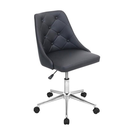 Lumisource Marche Contemporary Adjustable Office Chair with Swivel in Black Faux Leather