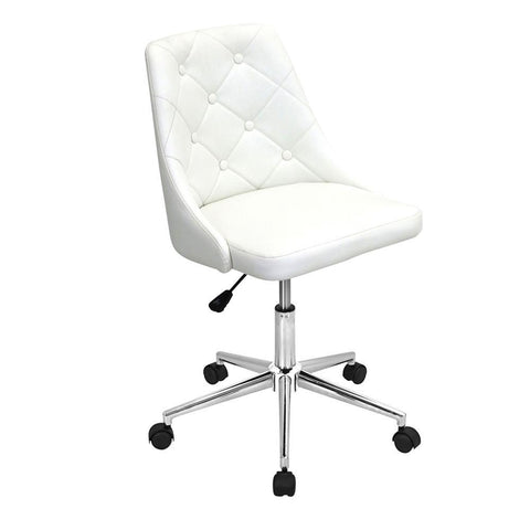 Lumisource Marche Contemporary Adjustable Office Chair with Swivel in White Faux Leather