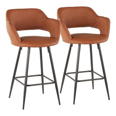 Lumisource Margarite Contemporary Counter Stool in Black Metal and Brown Faux Leather - Set of 2