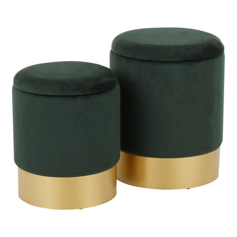 Lumisource Marla Contemporary/Glam Nesting Ottoman Set in Gold Metal and Green Velvet