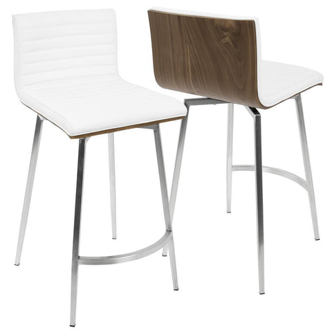 Lumisource Mason Contemporary Swivel Counter Stool in Stainless Steel, Walnut Wood, and White Faux Leather - Set of 2