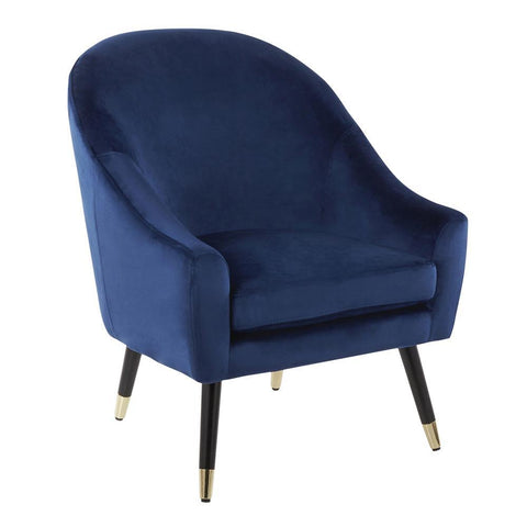 Lumisource Matisse Contemporary/Glam Accent Chair in Blue Velvet with Gold Accent