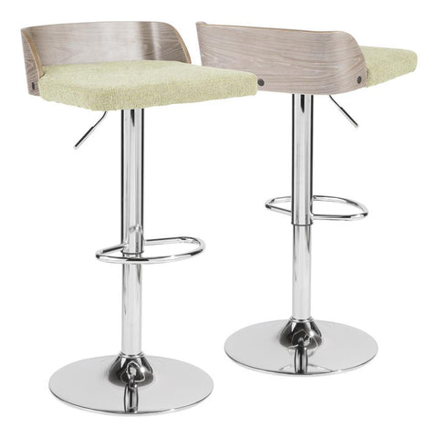 Lumisource Maya Mid-Century Modern Adjustable Barstool in Light Grey Wood and Light Green Fabric