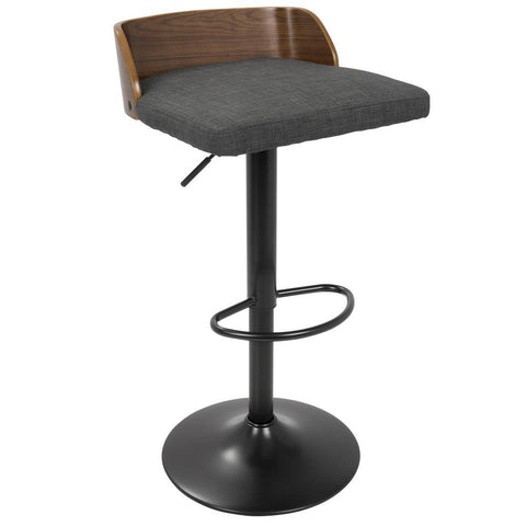 Lumisource Maya Mid-Century Modern Adjustable Barstool in Walnut Wood and Charcoal Fabric