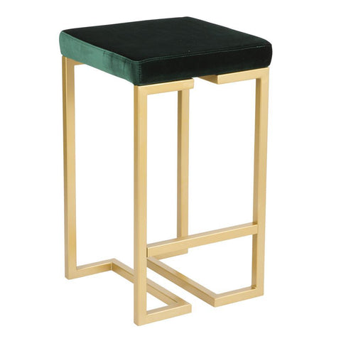 "Lumisource Midas 26"" Contemporary-Glam Counter Stool in Gold with Green Velvet Cushion - Set of 2"