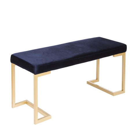 Lumisource Midas Contemporary-Glam Entryway/Dining Bench in Gold with Blue Velvet Cushion