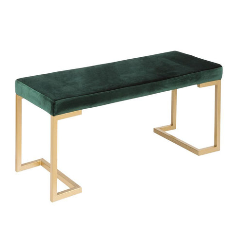 Lumisource Midas Contemporary-Glam Entryway/Dining Bench in Gold with Green Velvet Cushion