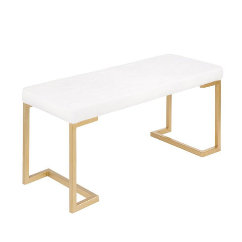 Lumisource Midas Contemporary-Glam Entryway/Dining Bench in Gold with White Mohair Cushion