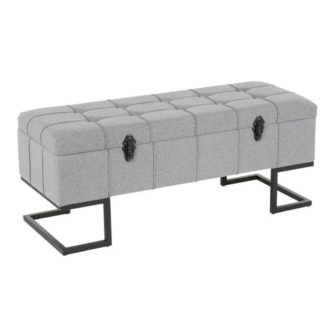 Lumisource Midas Contemporary Storage Bench in Black Metal and Grey Fabric