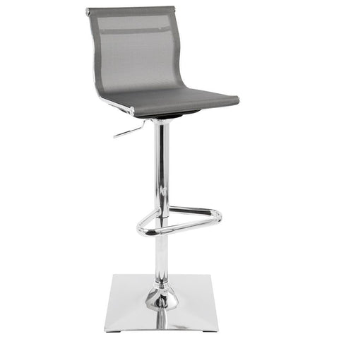 Lumisource Mirage Contemporary Adjustable Barstool with Swivel in Silver