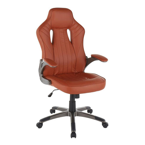 Lumisource Monza Contemporary Office Chair in Gun Metal and Brown Faux Leather