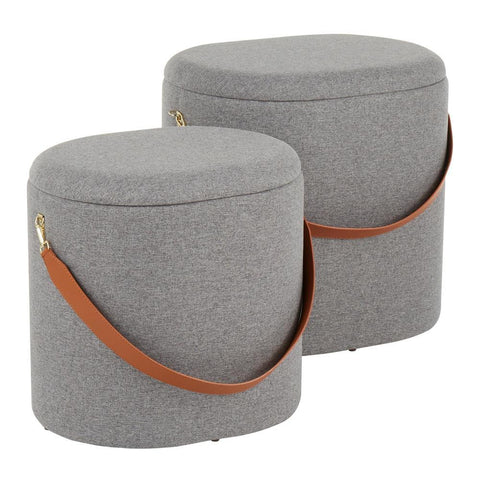 Lumisource Nesting Oval Strap Contemporary Ottoman in Grey Fabric with Brown Faux Leather Strap