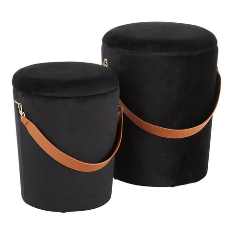 Lumisource Nesting Strap Contemporary Ottoman in Black Velvet with Brown Faux Leather Strap