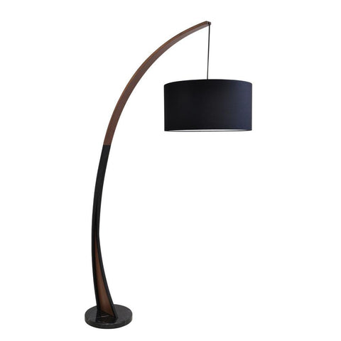 Lumisource Noah Mid-Century Modern Floor Lamp with Walnut Wood Frame and Marble Base