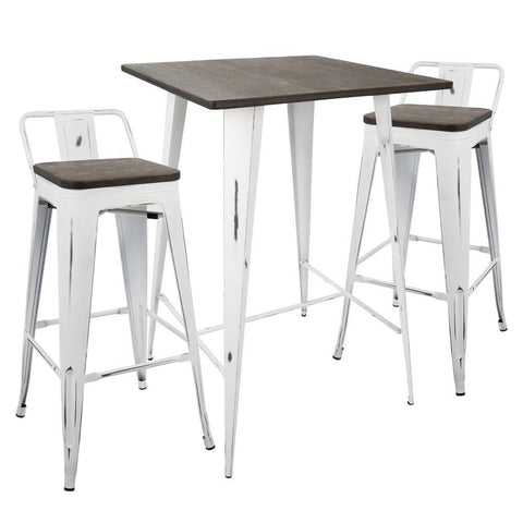 Lumisource Oregon 3-Piece Industrial Low Back Set in Vintage White and Espresso