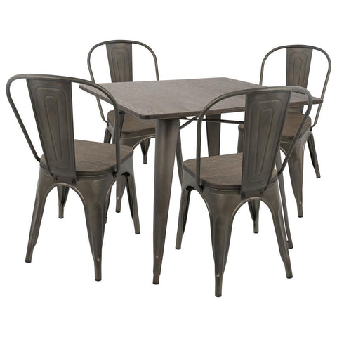 Lumisource Oregon 5-Piece Industrial-Farmhouse Dining Set in Antique and Espresso