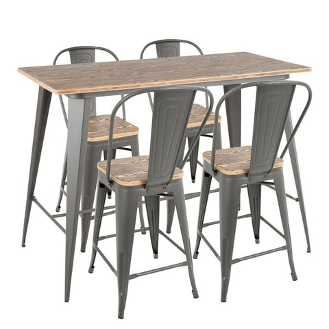 Lumisource Oregon 5-Piece Industrial High Back Counter Set in Grey and Wood-Pressed Grain Bamboo