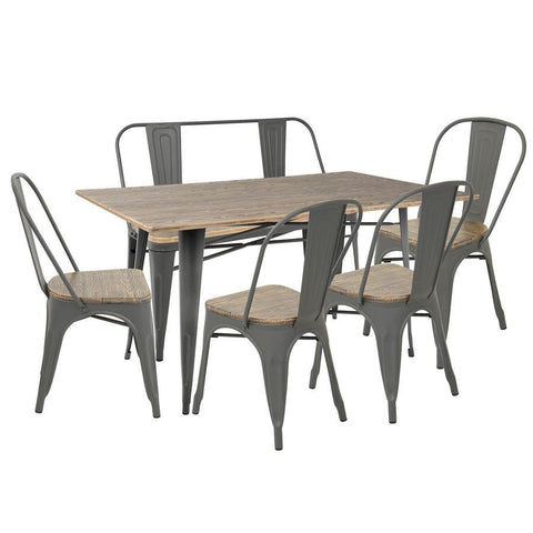 Lumisource Oregon 6-Piece Industrial-Farmhouse Dining Set in Grey and Brown