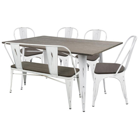 Lumisource Oregon 6-Piece Industrial-Farmhouse Dining Set in Vintage White and Espresso