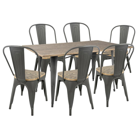 Lumisource Oregon 7-Piece Industrial-Farmhouse Dining Set in Grey and Brown