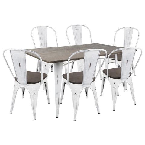 Lumisource Oregon 7-Piece Industrial-Farmhouse Dining Set in Vintage White and Espresso