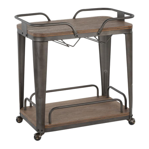 Lumisource Oregon Industrial Bar Cart in Antique Metal and Espresso Wood-Pressed Grain Bamboo