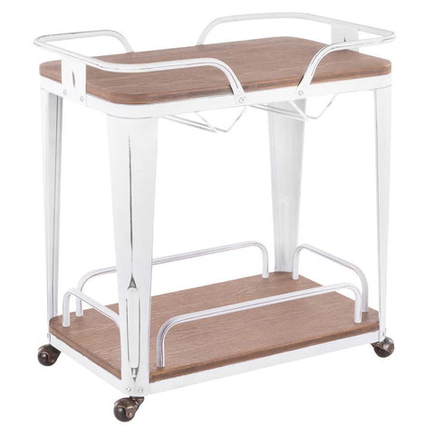 Lumisource Oregon Industrial Bar Cart in Vintage White Metal and Espresso Wood-Pressed Grain Bamboo