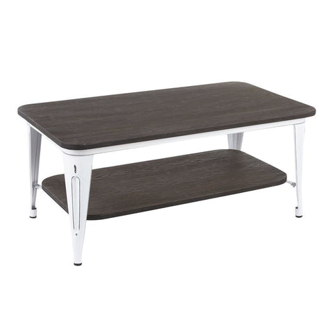 Lumisource Oregon Industrial Coffee Table in Vintage White Metal & Espresso Wood-Pressed Grain Bamboo