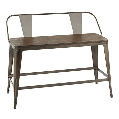 Lumisource Oregon Industrial Counter Bench in Antique Metal & Espresso Wood-Pressed Grain Bamboo