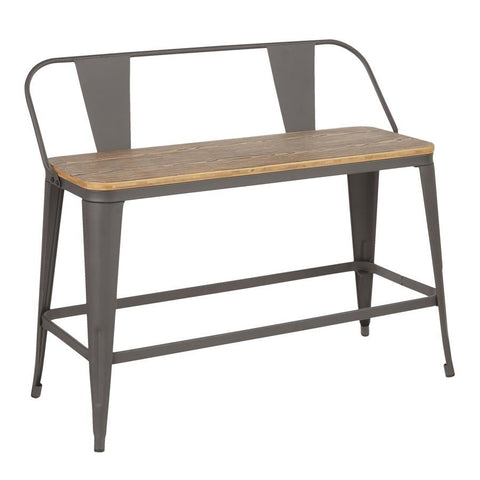 Lumisource Oregon Industrial Counter Bench in Grey Metal & Wood-Pressed Grain Bamboo