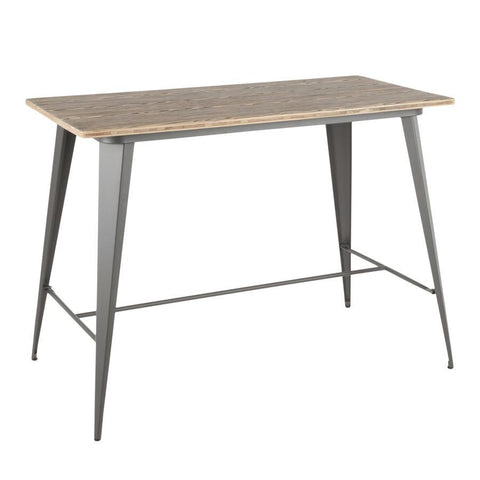 Lumisource Oregon Industrial Counter Table in Grey and Bamboo