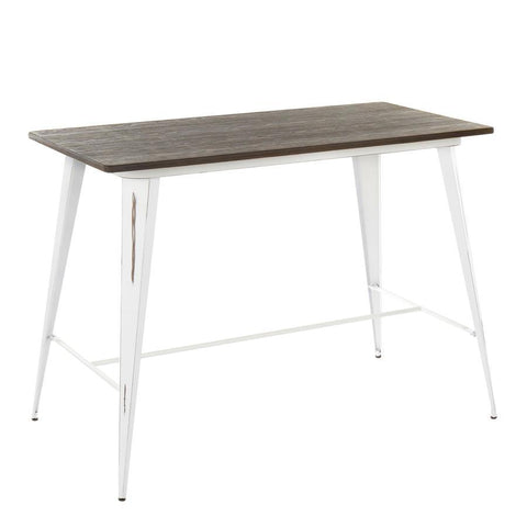 Lumisource Oregon Industrial Counter Table in Vintage White and Espresso