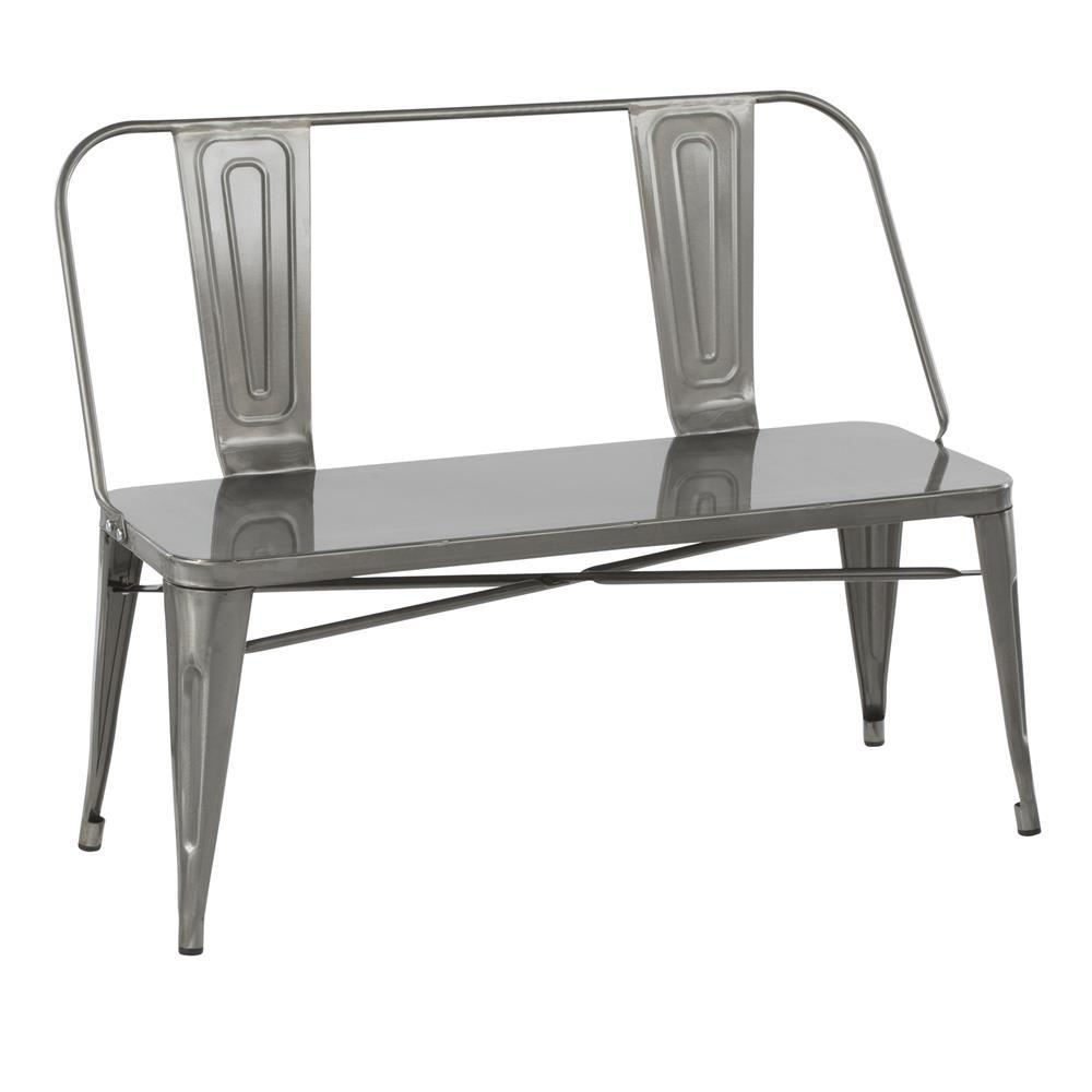 Fantastic Lumisource Oregon Industrial Metal Dining Entryway Bench In Clear Brushed Silver Caraccident5 Cool Chair Designs And Ideas Caraccident5Info