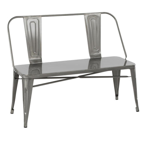 Lumisource Oregon Industrial Metal Dining/Entryway Bench in Clear Brushed Silver