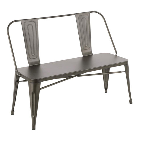 Lumisource Oregon Industrial Metal Dining/Entryway Bench with Antique Finish