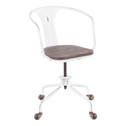 Lumisource Oregon Industrial Task Chair in Vintage White Metal and Espresso Wood-Pressed Grain Bamboo