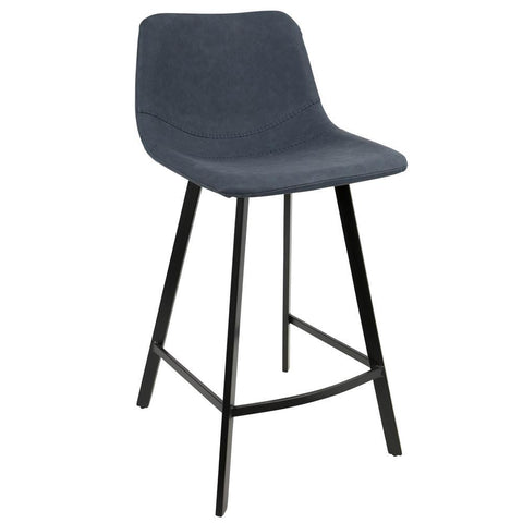 Lumisource Outlaw Industrial Counter Stool in Black with Blue Faux Leather - Set of 2