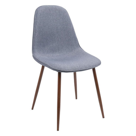 Lumisource Pebble Mid-Century Modern Dining/Accent Chair in Walnut and Blue Fabric - Set of 2