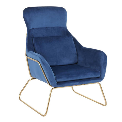 Lumisource Penelope Contemporary Lounge Chair in Gold Metal and Blue Velvet
