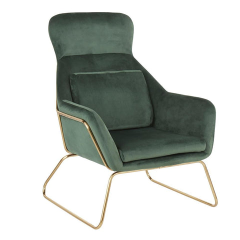 Lumisource Penelope Contemporary Lounge Chair in Gold Metal and Green Velvet