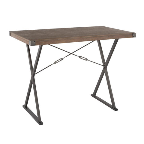 Lumisource Prep Industrial Counter Table in Antique Metal and Brown Wood-Pressed Grain Bamboo