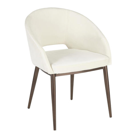 Lumisource Renee Contemporary Chair in Copper Metal Legs with Cream Velvet