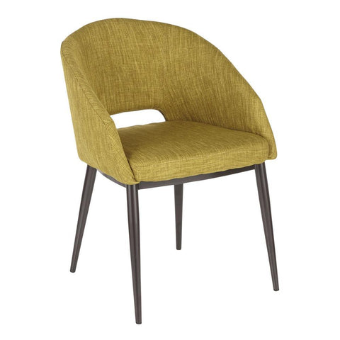 Lumisource Renee Contemporary Chair in Espresso Metal Legs with Green Fabric