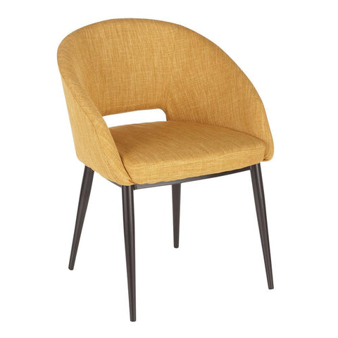 Lumisource Renee Contemporary Chair in Espresso Metal Legs with Yellow Fabric