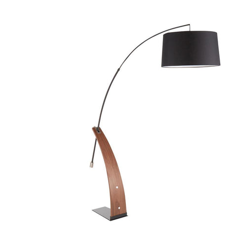 Lumisource Robyn Mid-Century Modern Floor Lamp in Walnut Wood and Black Shade