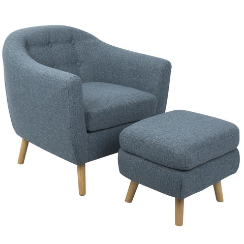 Lumisource Rockwell Mid-Century Modern Accent Chair and Ottoman in Blue Noise Fabric